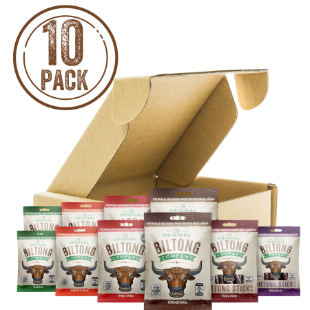 A mixed selection of biltong snack bags containing, original, piri piri, garlic and smoky bbq biltong and original and piri piri biltong stick bites