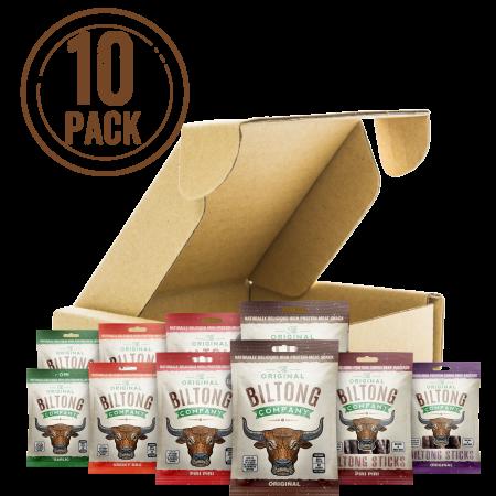 A mixed selection of biltong snack bags containing, original, piri piri, garlic and smoky bbq biltong and original and piri piri biltong stick bites