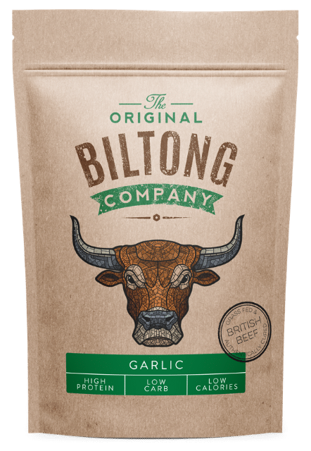 Garlic Beef Biltong in resealable 250g bag.