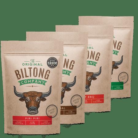 1kg Biltong - 4 bags of 250g Biltong - 1 x 250g Original, 1 x 250g Smoky BBQ, 1 x 250g Garlic, 1 x 250g Original Biltong.