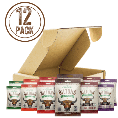 Biltong Bulk Box. 12 packets of Biltong snack bags.